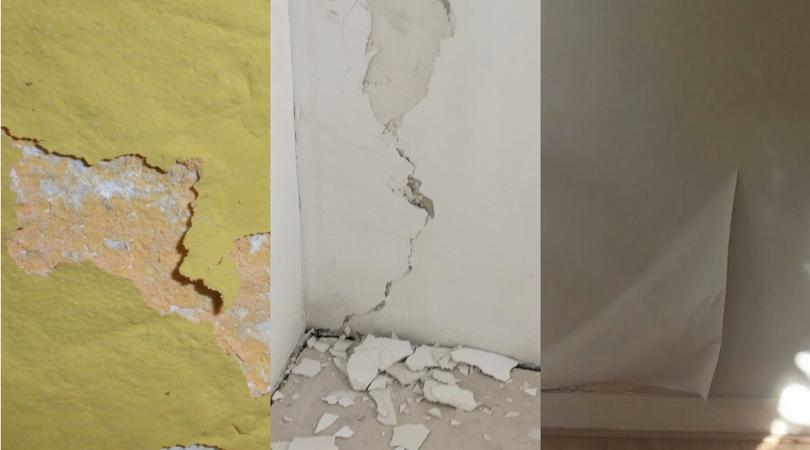 schade pleisterwerk en behang vocht in huis